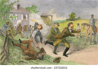 African-Americans firing on slave-catchers near Christiana Pennsylvania on Sept 11, 1851, Engraving from William Still's history UNDERGROUND RAILROAD 1872 with modern watercolor.