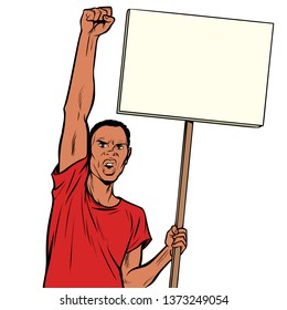 Afrikan man protests with a poster. Isolate on white background. Pop art retro  illustration vintage kitsch drawing