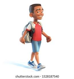 Afro American boy with school bag walking, stylized cartoon character,  school kid 3d rendering