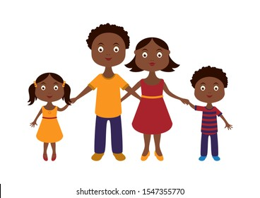 Afro american family illustration. Parents and children cartoon character. Daddy, mum and kids cartoon. Afro American black family isolated on a white background. Afro american family icon