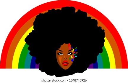Cartoon afro girl with Black Girl