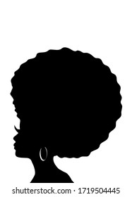 Afro hair woman, abstract  illustration silhouette