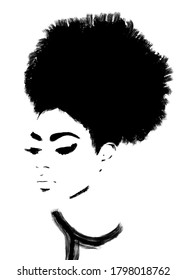 Afro hair woman, beautiful African girl