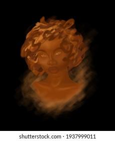 Afro woman in digital art