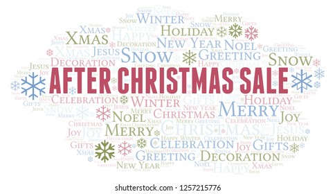 After Christmas Sale word cloud.