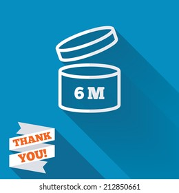After opening use 6 months sign icon. Expiration date. White flat icon with long shadow. Paper ribbon label with Thank you text.