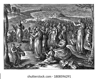 After the safe passage through the Red Sea, the Israelites say a song of thanks. Moses is on the left, vintage engraving.