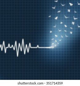 Afterlife concept as an ecg or ekg medical heart monitor lifeline  showing a flatline transforming into white doves flying upward towards heaven as faith metaphor for believing in life after death.