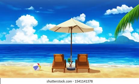 Afternoon Beach Anime Background Landscape Illustration