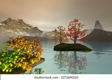 Afternoon view on the lake, 3D rendering, an autumn landscape, snowy mountains, trees with red and yellow leaves and a coudy sky.