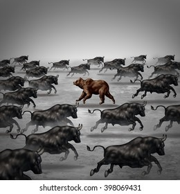 Against the current business concept as a different way to invest or going the opposite direction as a bear in a bull market metaphor for individual financial thinking and a contrary forecast.