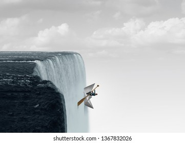 Against the flow business concept as a metaphor for swimming upstream against the current as a symbol for determination and courage to go opposite of the mainstream with 3D illustration elements.