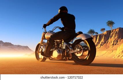 Against the landscape of the motorcyclist.