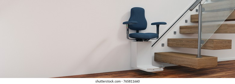Age appropiate living with stairlift for staircaise in house (3D Rendering)