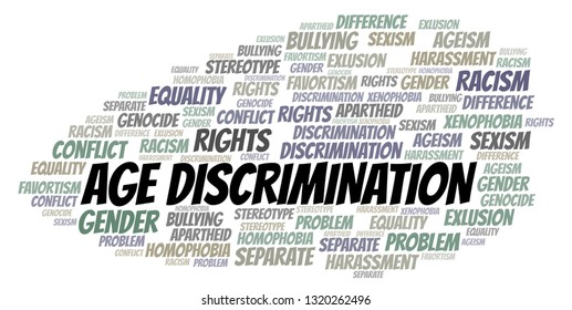 Age Discrimination - type of discrimination - word cloud.