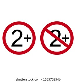 Age restriction symbol. Two one plus. Abstract concept, icon. Raster illustration on white background.
