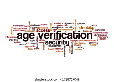 Age verification word cloud concept on white background