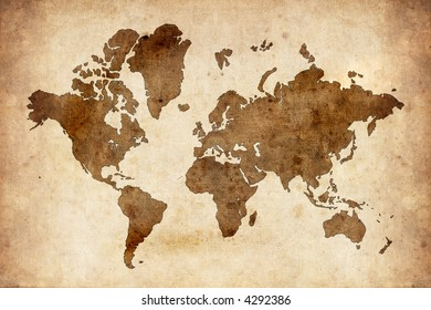 Aged map of the world