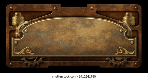 Aged metal plaque with steampunk gear and  copper border isolated 3D digital illustration