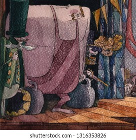 aged paper, retro equipment. Weight lifter prepares to enter the arena for viewers, illustration, watercolor