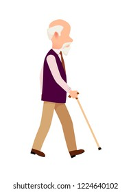 Aged person with cane long thin stick with curved handle isolated on wwite. Senior man process of movement colorful  illustration