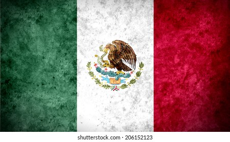 Aged textured and colorful flag of Mexico