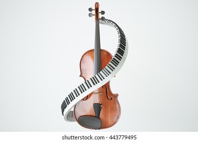 Aged violin and piaone keys concept. 3D rendering