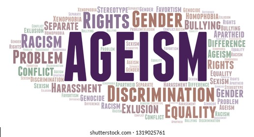 Ageism - type of discrimination - word cloud.