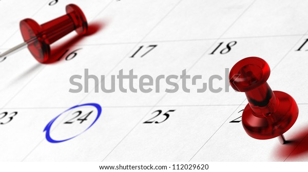 agenda with red pushpins pointing on different dates with blur effect, number 24 is surrounded by a blue circle