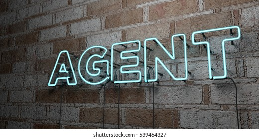 AGENT - Glowing Neon Sign on stonework wall - 3D rendered royalty free stock illustration.  Can be used for online banner ads and direct mailers.