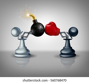 Aggressive strategy concept as two open chess pawns with a boxing glove fighting with a bomb in business competition metaphor for strategic advantage and prepared to win as a 3D illustration.