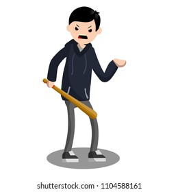 aggressive young bully with a baseball bat in a hoodie. urban security threat on the street. a man is a thief and a criminal. bandit extorts money in the city