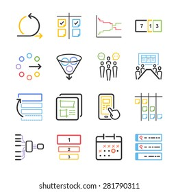 Agile icon set. Included the icons as filter, meeting, scrum, agile board, flow, prototype and more.