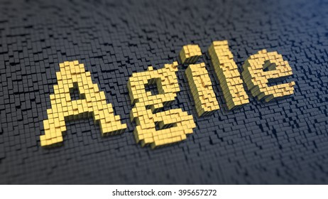 Agile methodology production. Word Agile of the yellow square pixels on a black matrix background. 3D illustration picture