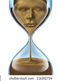 Aging process and losing self awareness and forgetting who you are as a human and business person with a face of a person made of sand fading away in an hour glass on a white background.
