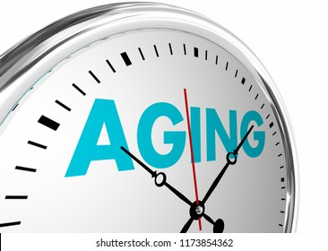 Aging Time Passing Getting Older Age Clock Words 3d Illustration