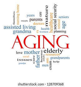 Aging Word Cloud Concept with great terms such as seniors, elderly, adults, social and more.
