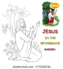 The agony in the garden coloring page. Jesus in the Gethsemane. I have editable vector versions (coloring book and colored) of this illustration. Please see information to my profile