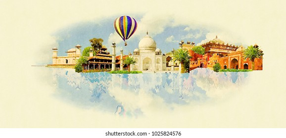 AGRA city colored watercolor painting illustration