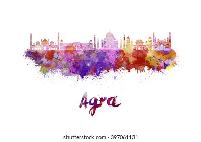Agra skyline in watercolor splatters with clipping path