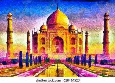 Agra Taj Mahal colorful architecture oil painting
