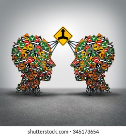Agreement business concept as two groups of traffic signs shaped as a human head connected together by a big signage with a merger arrow icon as a metyaphor for making a deal with collaboration.