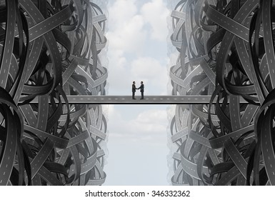 Agreement business handshake partnership deal as a solution strategy with a team coming together out of tangled twisted roads on to a bridge to find a common goal.