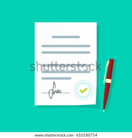 Agreement Document Icon Flat Style Legal Paper Sheet Contract Page With Signature And Approved Stamp