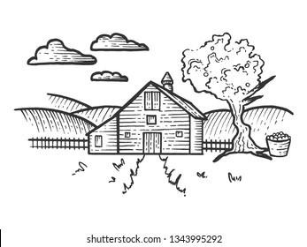 Agricultural Farm rural landscape sketch engraving raster illustration. Scratch board style imitation. Black and white hand drawn image.