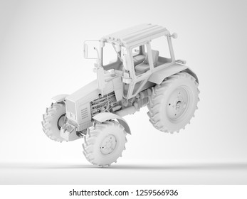 Agricultural generic tractor floating in the air, leans on one wheel. 3D render.