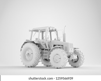 Agricultural generic tractor on studio background. 3D render.