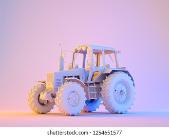 Agricultural generic tractor on two colored background. 3D render.