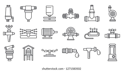 Agricultural irrigation system icon set. Outline set of agricultural irrigation system icons for web design isolated on white background