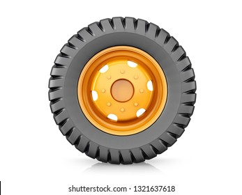 Agricultural machinery wheel, tire for tractor or for combine harvester on white background. 3d render.